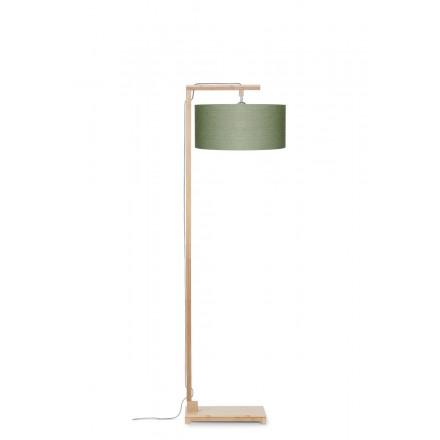 Bambus Stehlampe und Himalaya ökologische Leinen Lampenschirm (natürlich, dunkelgrün)