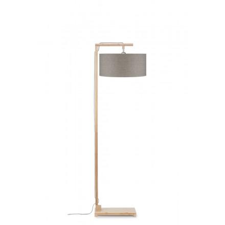 Lampada in legno in legno e paralume di lino ecologico HIMALAYA (lino naturale e scuro)