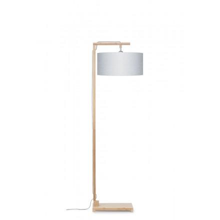 Bambus Stehlampe und himalaya ökologische Leinen Lampenschirm (natürlich, hellgrau)