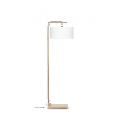 Lampe sur pied en bambou et abat-jour lin écologique HIMALAYA (naturel, blanc)