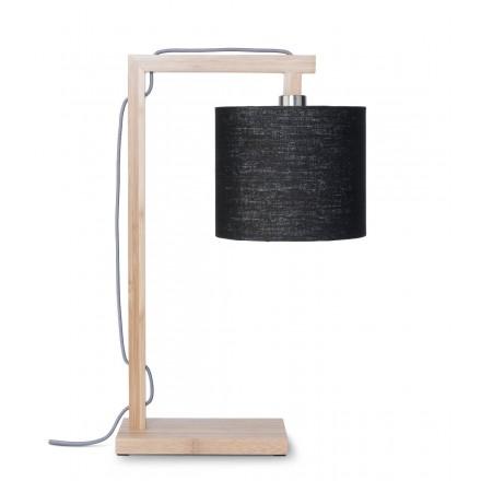 Lámpara de mesa de bambú y pantalla de lino ecológico himalaya (natural, negro)