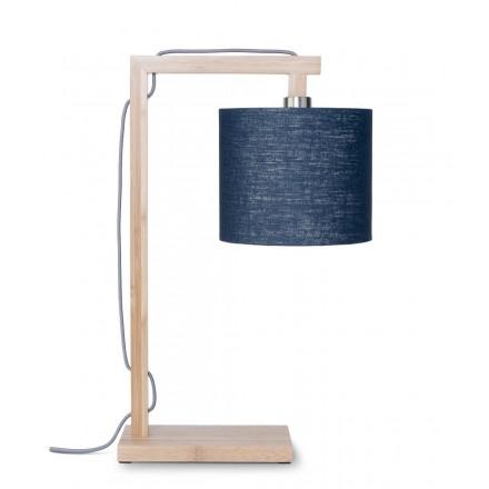 Lámpara de mesa de bambú y pantalla de lino ecológico himalaya (jeans naturales y azules)