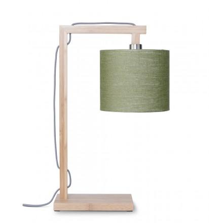 Lámpara de mesa de bambú y lámpara de lino ecológico himalaya (natural, verde oscuro)