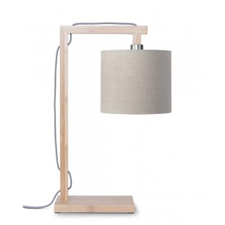 Bambus Tischlampe und himalaya ökologische Leinenlampe (natürliche, dunkle Leinen)