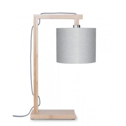 Lámpara de mesa de bambú y lámpara de lino ecológico himalaya (natural, gris claro)