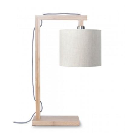 Lampe de table en bambou et abat-jour lin écologique HIMALAYA (naturel, lin clair)
