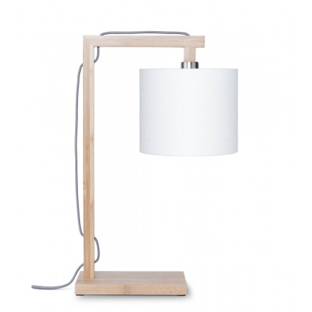 Lampe de table en bambou et abat-jour lin écologique HIMALAYA (naturel, blanc)