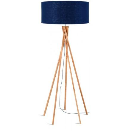Lampe sur pied en bambou et abat-jour lin écologique KILIMANJARO (naturel, bleu jeans)