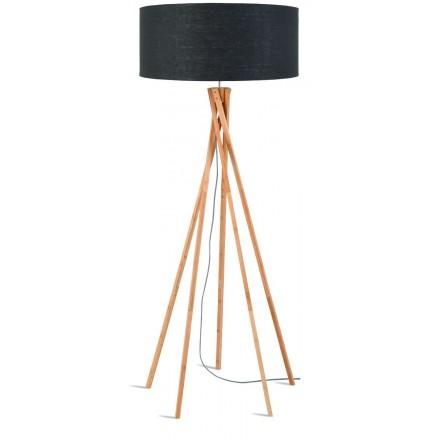 Lampe sur pied en bambou et abat-jour lin écologique KILIMANJARO (naturel, gris foncé)