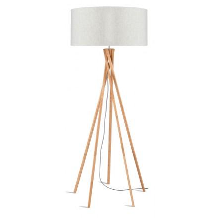 Lampada in piedi in bambù e paralume di lino eco-friendly KILIMANJARO (lino naturale e leggero)