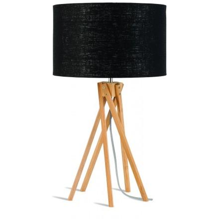 Lampe de table en bambou et abat-jour lin écologique KILIMANJARO (naturel, noir)