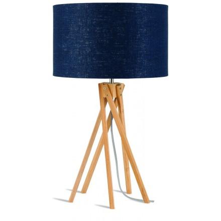 Lampada da tavolo Bamboo e paralume di lino eco-friendly KILIMANJARO (jeans naturali e blu)