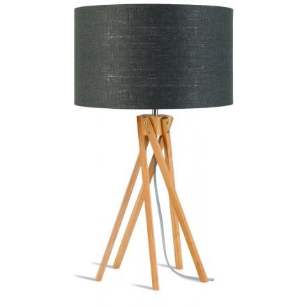 Lámpara de mesa de bambú y lámpara de lino ecológica KILIMANJARO (natural, gris oscuro)