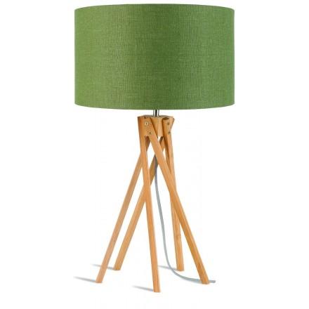 Lampe de table en bambou et abat-jour lin écologique KILIMANJARO (naturel, vert foncé)