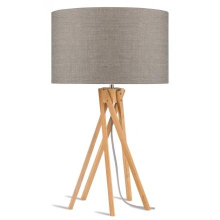 Lampada da tavolo Bamboo e lampada di lino eco-friendly KILIMANJARO (lino naturale e scuro)