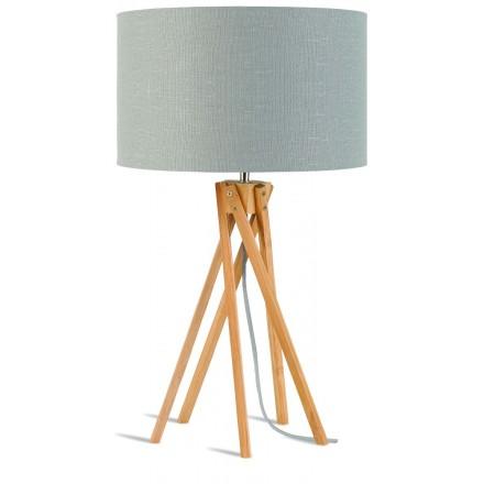 Lámpara de mesa de bambú y lámpara de lino ecológica KILIMANJARO (natural, gris claro)