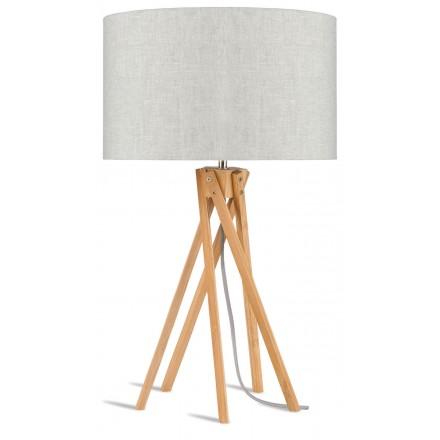 Bamboo table lamp and KILIMANJARO eco-friendly linen lamp (natural, light linen)
