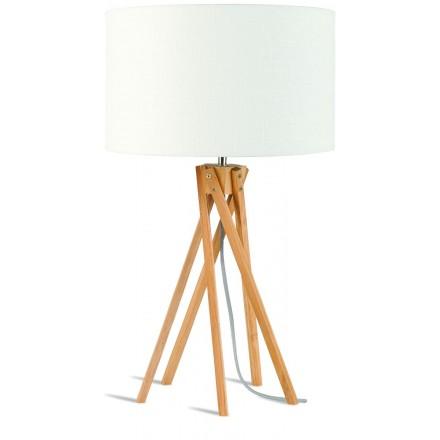 Lámpara de mesa de bambú y lámpara de lino ecológica KILIMANJARO (natural, blanca)