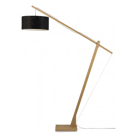 Bamboo standing lamp and MONTBLANC eco-friendly linen lampshade (natural, black)