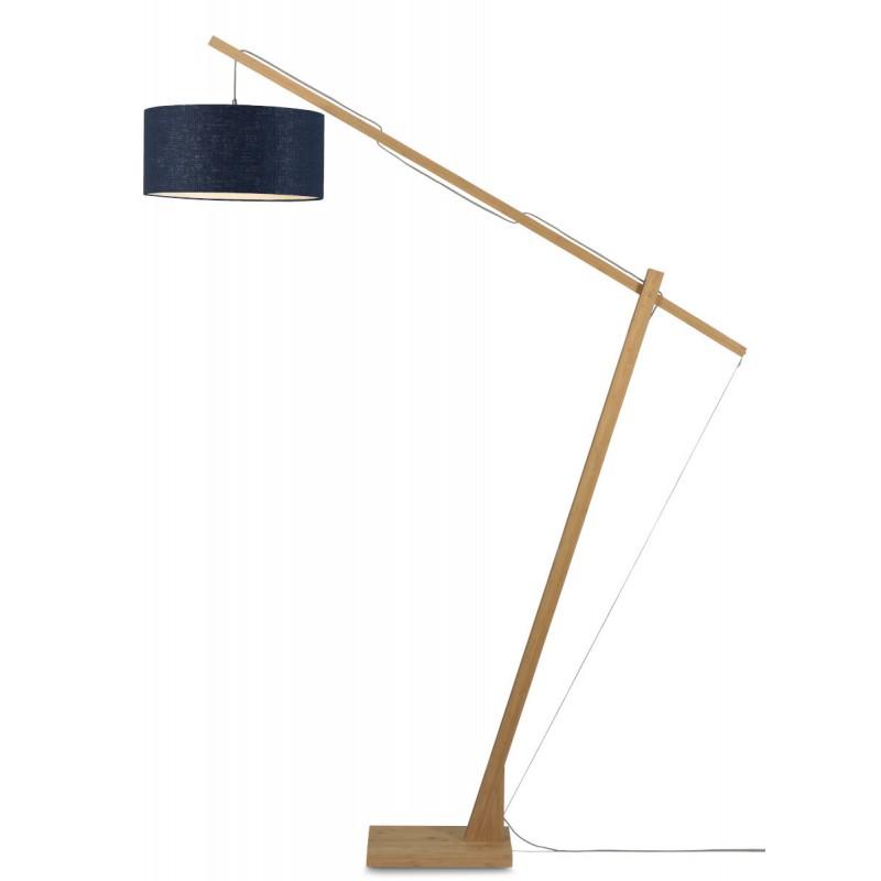 Lampe sur pied en bambou et abat-jour lin écologique MONTBLANC (naturel, bleu jeans)