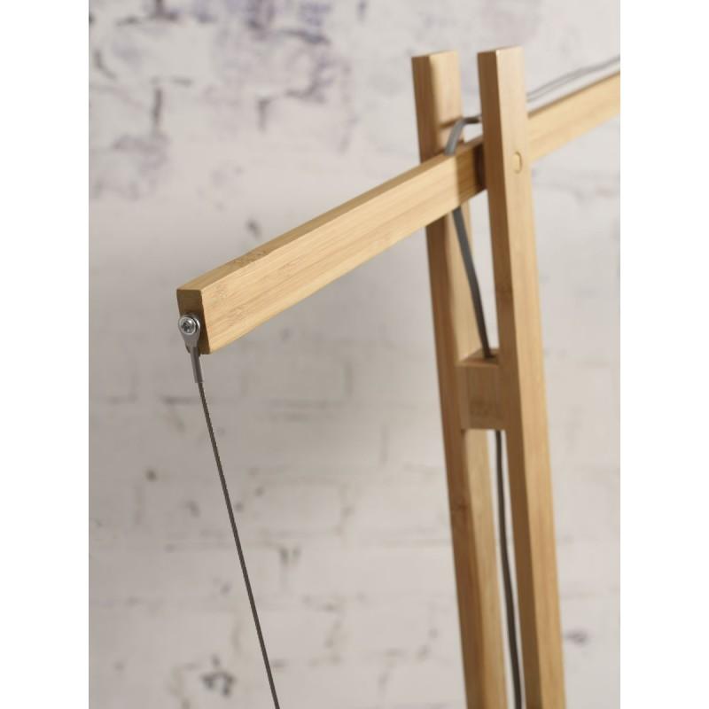 Lampe sur pied en bambou et abat-jour lin écologique MONTBLANC (naturel, bleu jeans) - image 44881