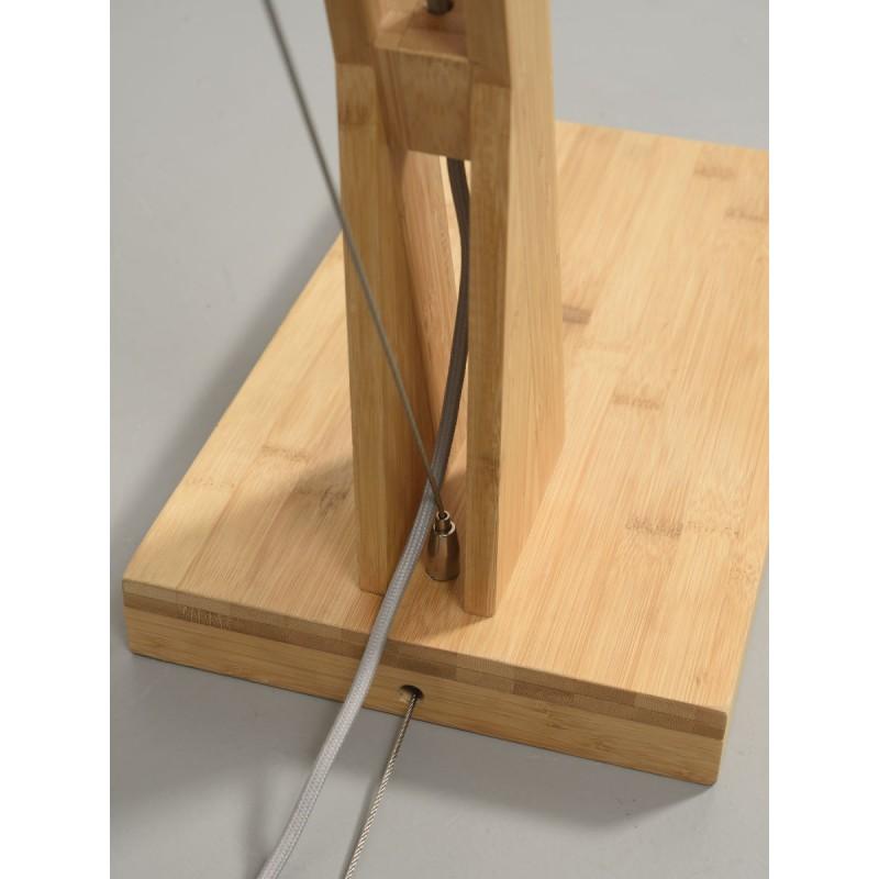 Lampe sur pied en bambou et abat-jour lin écologique MONTBLANC (naturel, bleu jeans) - image 44883