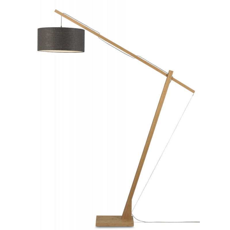 Lampe sur pied en bambou et abat-jour lin écologique MONTBLANC (naturel, gris foncé) - image 44889