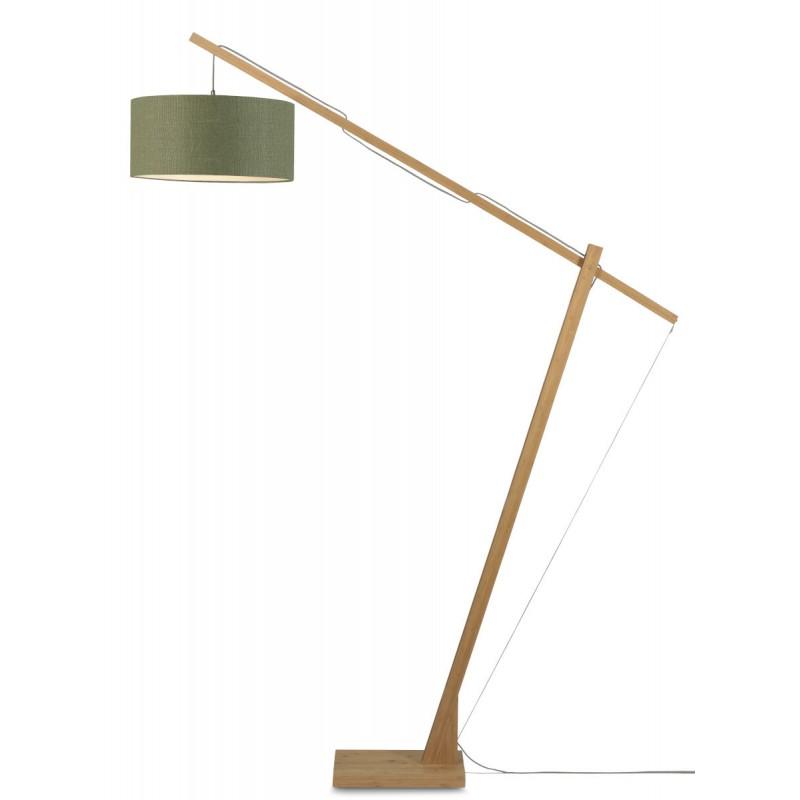Lampada in piedi verde MontBLANC e paralume di lino verde (naturale, verde scuro)