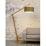 Lampe sur pied en bambou et abat-jour lin écologique MONTBLANC (naturel, vert foncé)