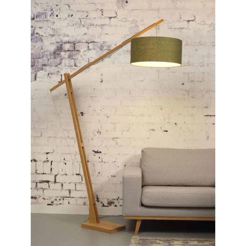 Lampe sur pied en bambou et abat-jour lin écologique MONTBLANC (naturel, vert foncé) - image 44902