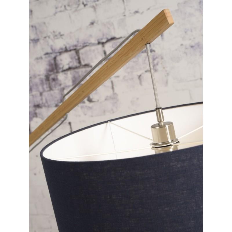 Lampe sur pied en bambou et abat-jour lin écologique MONTBLANC (naturel, vert foncé) - image 44908
