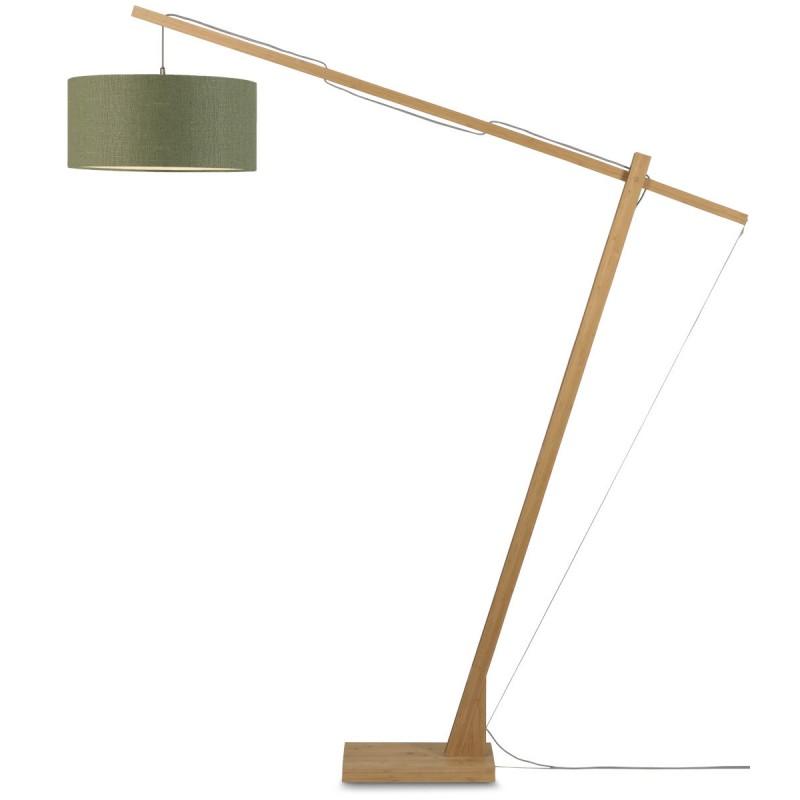 Lampe sur pied en bambou et abat-jour lin écologique MONTBLANC (naturel, vert foncé) - image 44912