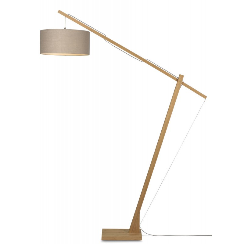 Lámpara de lino verde MontBLANC a pie y lámpara de lino verde (natural, lino oscuro)