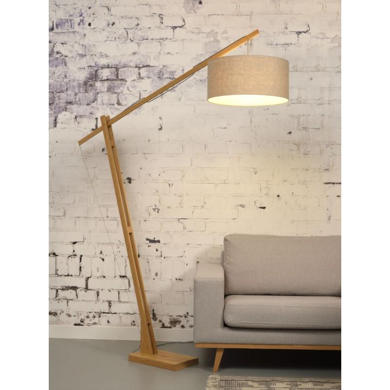 Lampe sur pied en bambou et abat-jour lin écologique MONTBLANC (naturel, lin foncé) - image 44914