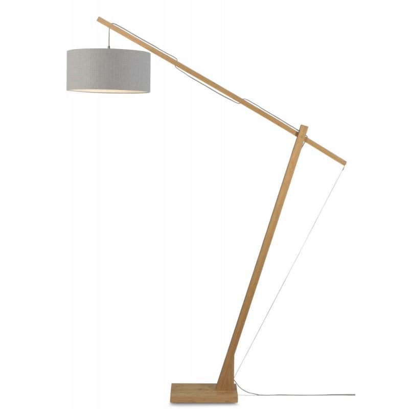 Lampe sur pied en bambou et abat-jour lin écologique MONTBLANC (naturel, gris clair)