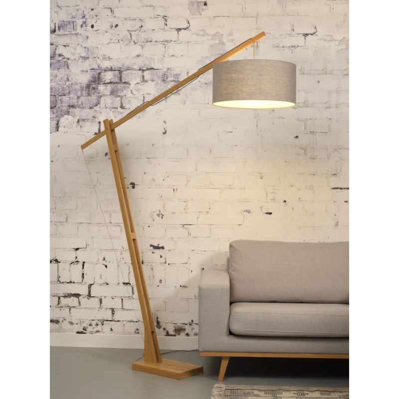 Lampe sur pied en bambou et abat-jour lin écologique MONTBLANC (naturel, gris clair) - image 44927