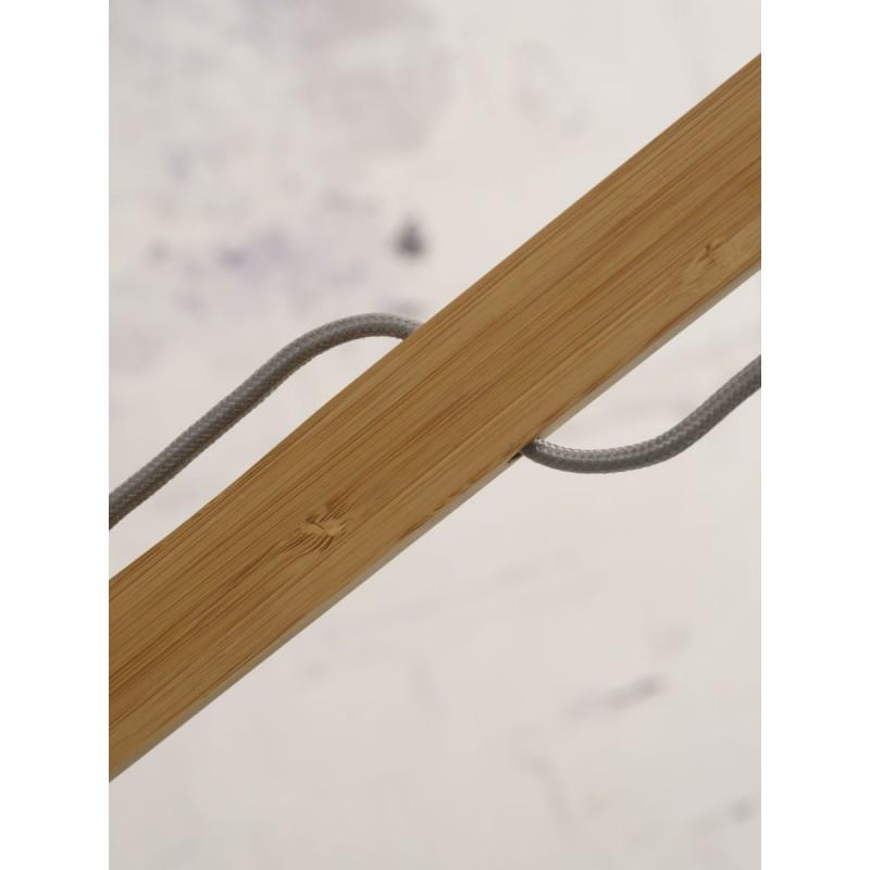 Lampe sur pied en bambou et abat-jour lin écologique MONTBLANC (naturel, gris clair) - image 44929