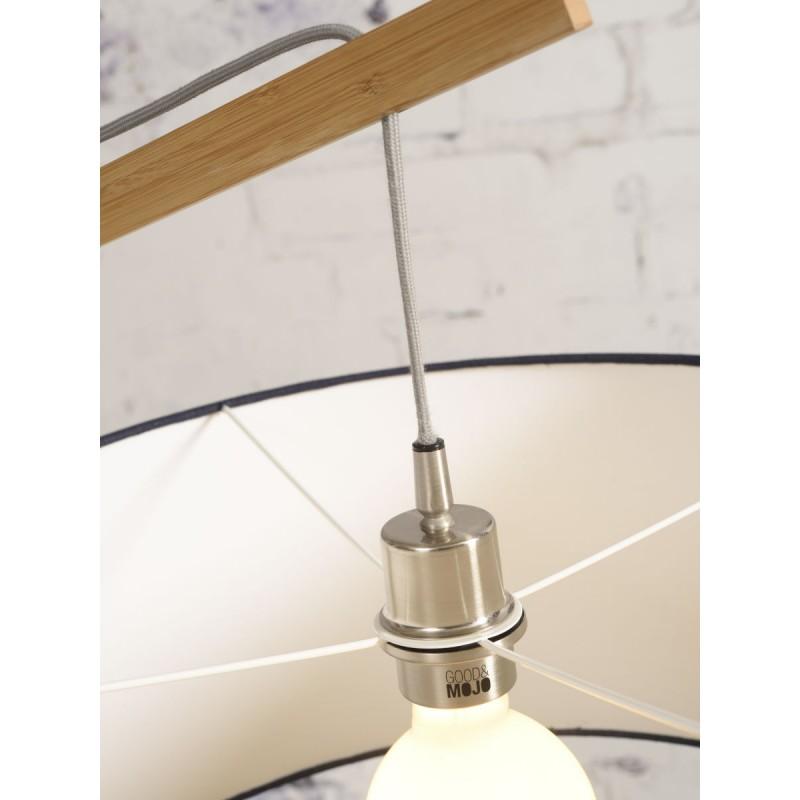 Lampe sur pied en bambou et abat-jour lin écologique MONTBLANC (naturel, gris clair) - image 44934