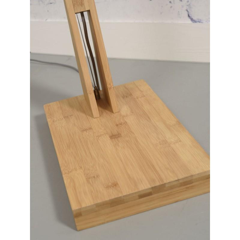 Lampe sur pied en bambou et abat-jour lin écologique MONTBLANC (naturel, gris clair) - image 44935