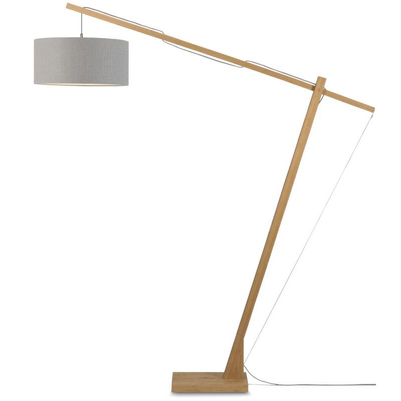 Lampe sur pied en bambou et abat-jour lin écologique MONTBLANC (naturel, gris clair) - image 44937