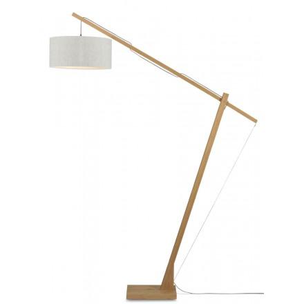 Lampada in legno verde MontBLANC e paralume di lino (lino naturale e leggero)