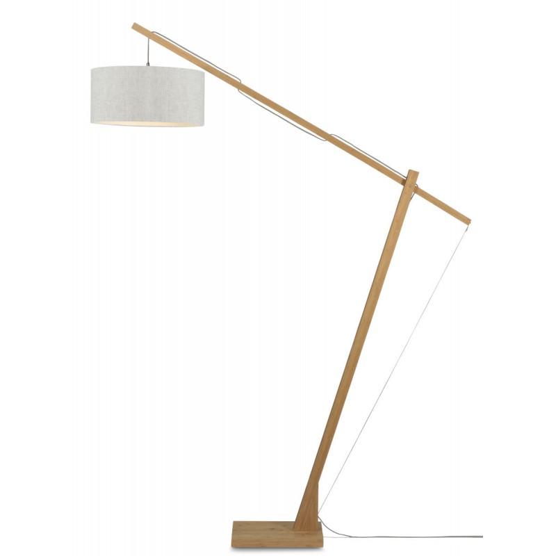 Lámpara de pie de lino verde MontBLANC y pantalla de lino (natural, lino claro)