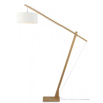 Lampada in piedi Bamboo e paralume di lino eco-friendly MONTBLANC (naturale, bianco)