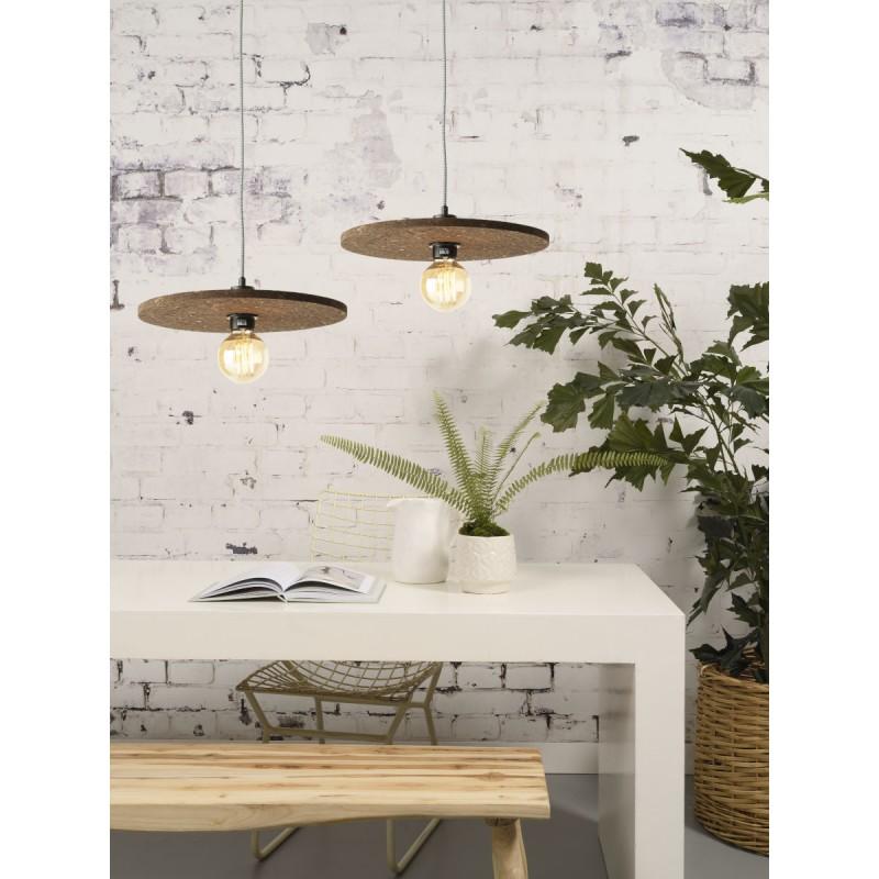 Lámpara de suspensión de corcho ALGARVE (marrón oscuro) - image 44991
