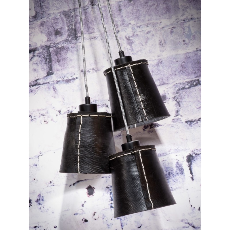 AMAZON SMALL 3 lampshade recycled tire suspension lamp (black) - image 45011