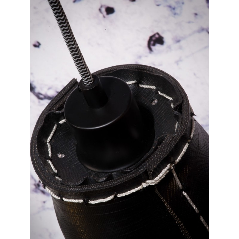 AMAZON SMALL 3 lampshade recycled tire suspension lamp (black) - image 45013