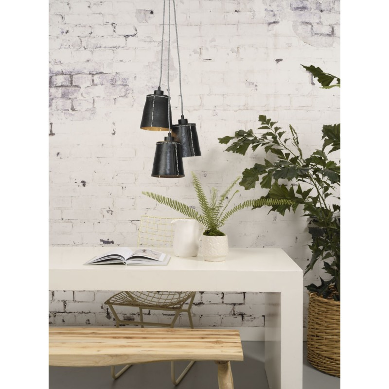 AMAZON SMALL 3 lampshade recycled tire suspension lamp (black) - image 45016
