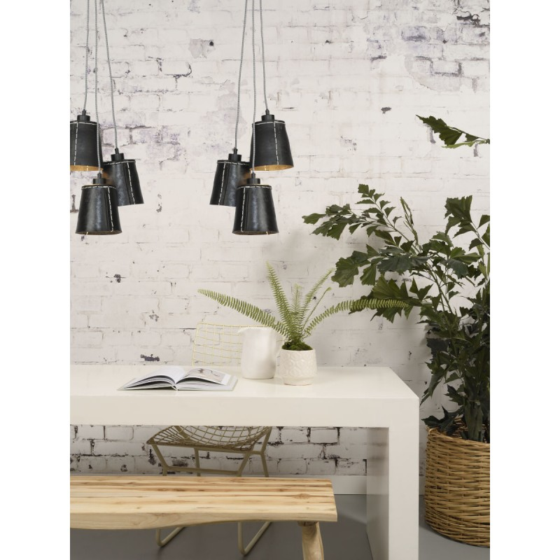 AMAZON SMALL 3 lampshade recycled tire suspension lamp (black) - image 45017