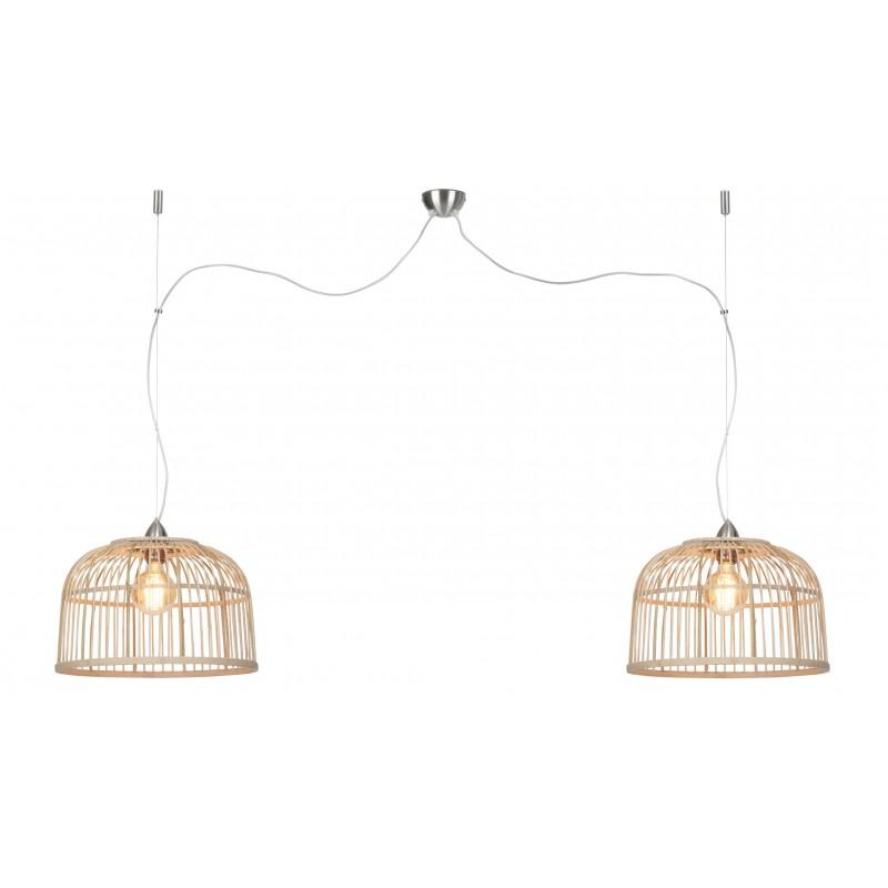 Lámpara de suspensión de bambú BORNEO SMALL 2 pantallas (natural) - image 45066