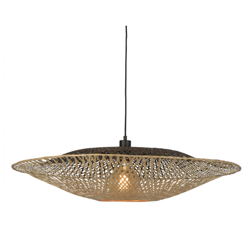 Lampe à suspension en bambou KALIMANTAN XL (naturel, noir)